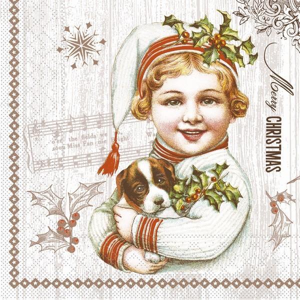 Serviette Puppy aus Tissue 33 x 33 cm, 100 Stück