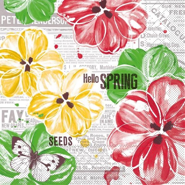 Serviette Hello Spring in gelb-rot aus Tissue 33 x 33 cm, 100 Stück