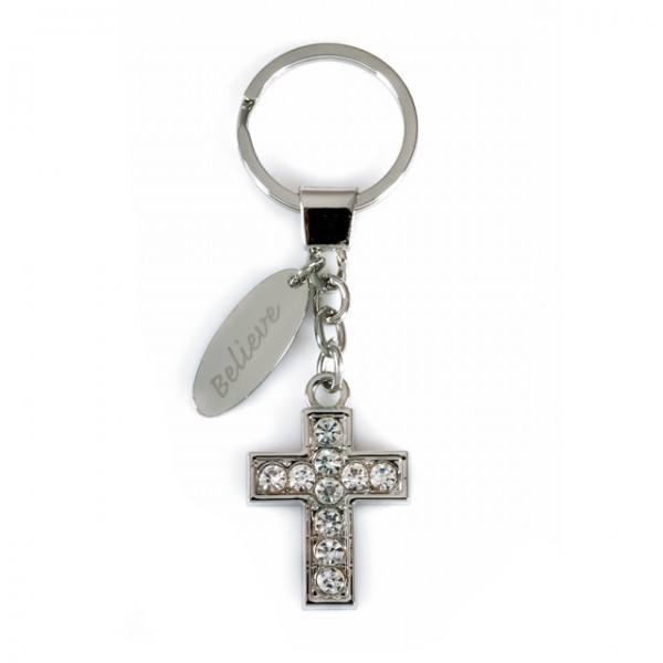 Schlüsselanhänger Kreuz mit Strasssteinchen, 1 Stück