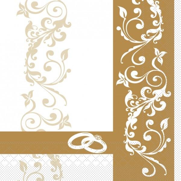 Serviette Hochzeit in Gold aus Tissue 33 x 33 cm, 100 Stück