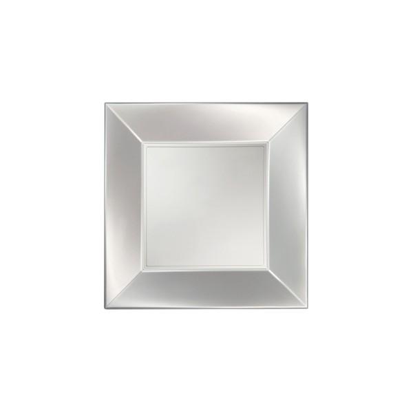 Einweg-Teller groß aus Plastik (PP), Perlmutt-Weiss, 290x290mm, 8 Stück