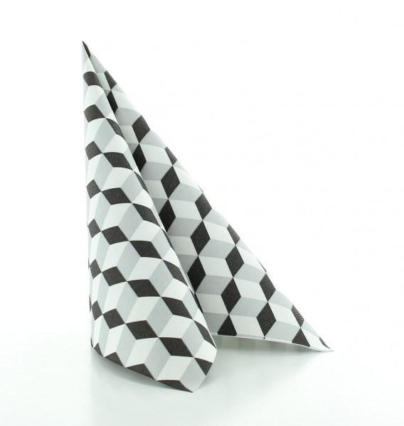 Serviette Chicago in Silber-Schwarz aus Linclass® Airlaid 40 x 40 cm, 12 Stück