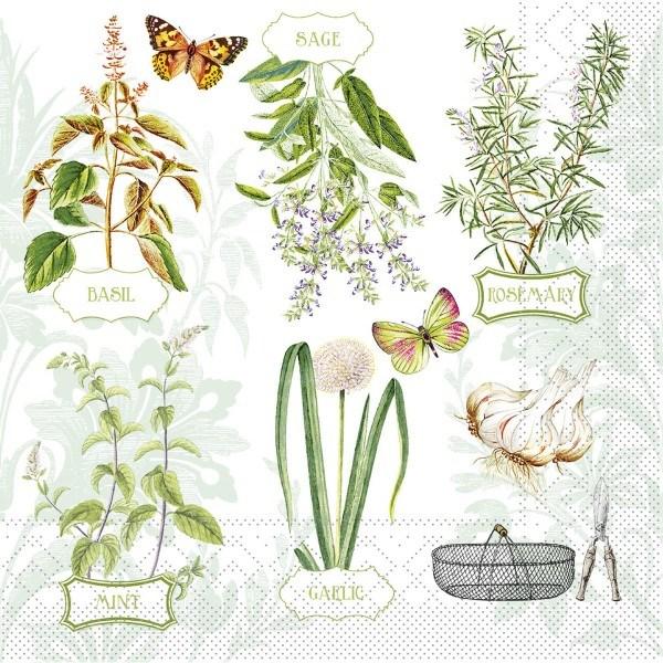 Serviette Fresh Herbs aus Tissue 33 x 33 cm, 20 Stück