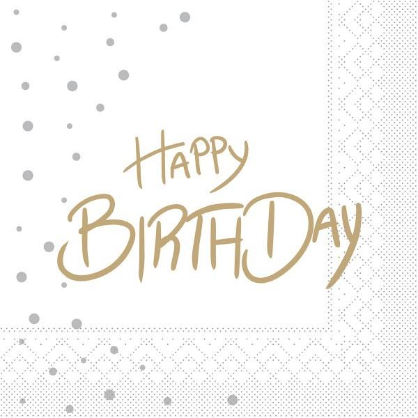 """Serviette """"Happy Birthday (Punkte)"""" aus Tissue 33 x 33 cm, 100 Stück"""