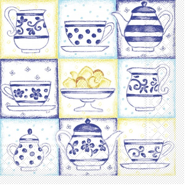 Serviette Cookie in Blau aus Tissue 33 x 33 cm, 20 Stück