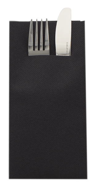 Besteckserviette Schwarz aus Linclass® Airlaid 40 x 40 cm, 100 Stück