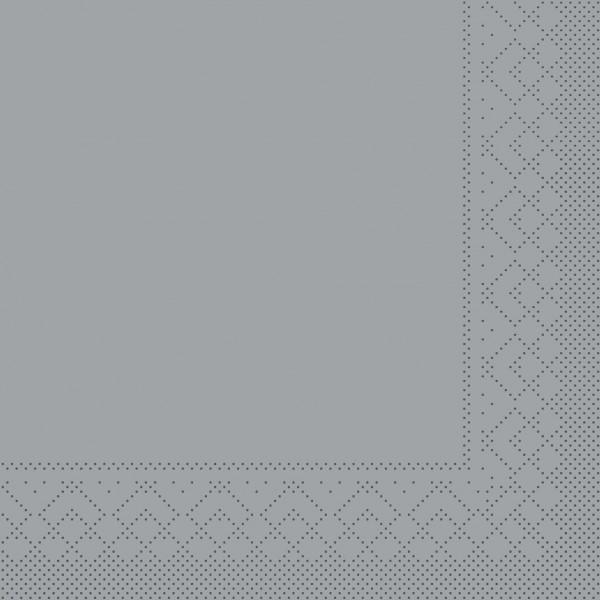 Cocktail-Servietten Grau aus Tissue 25 x 25 cm, 100 Stück