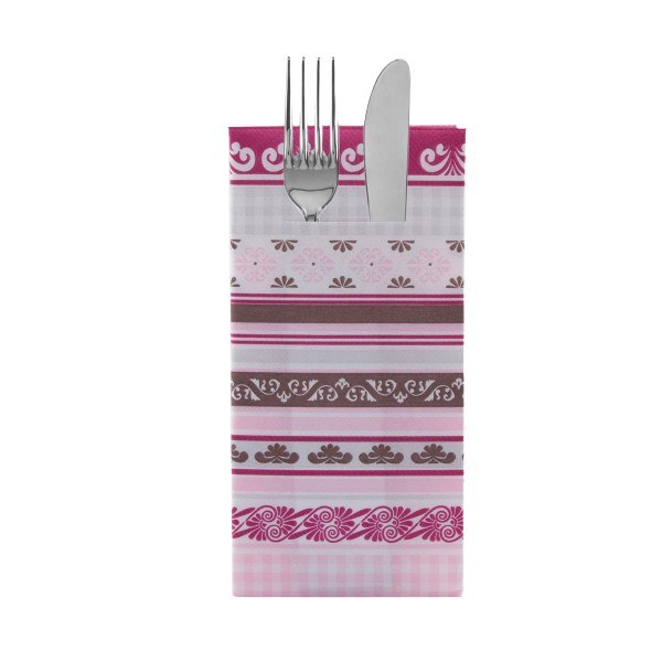 Besteckserviette Jule in Braun-Rosa aus Linclass® Airlaid 40 x 40 cm, 12 Stück