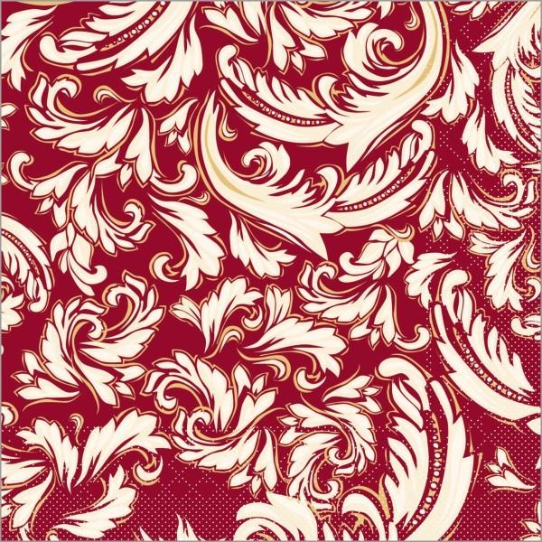 Serviette Cascade in bordeaux aus Tissue 33 x 33 cm, 100 Stück