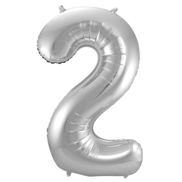 XL Folienballon Zahl 2 in silber, 86 cm, 1 Stück, Helium Ballon (unbefüllt)