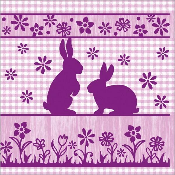 Serviette Joni-Rabbits in Beere aus Tissue 33 x 33 cm, 3-lagig, 100 Stück