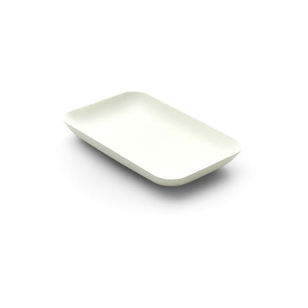 Teller aus Zuckerrohr in Weiss, rechteckig, 120 x 80 x h 15 mm, 40 Stück