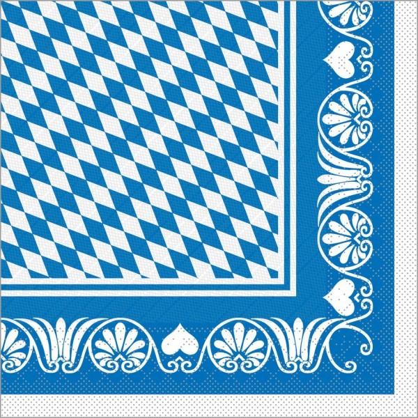 Serviette Bavaria in blau aus Tissue Deluxe®, 4-lagig, 40 x 40 cm, 50 Stück