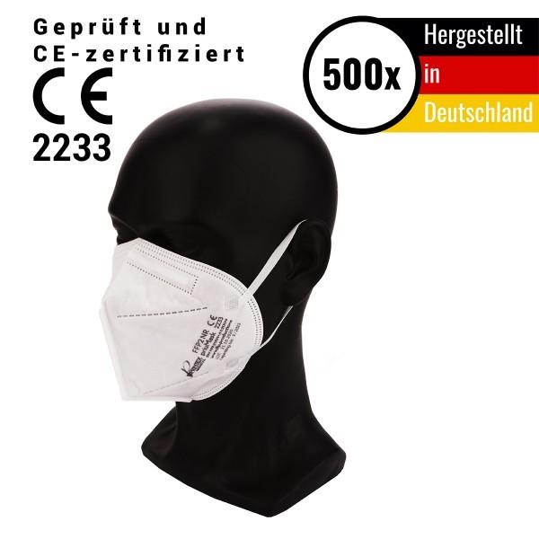 500 Stück FFP2 Atemschutzmaske - hergestellt in Deutschland, ohne Ventil CE 2233 - Mundschutzmaske