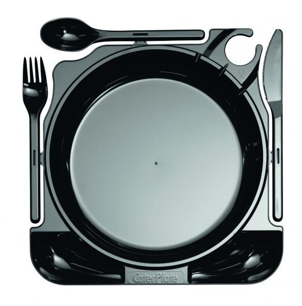 Einweg-Cater Plate MILAN inkl. Besteck aus Plastik, 27 x 26 cm, Schwarz, 10 Stück