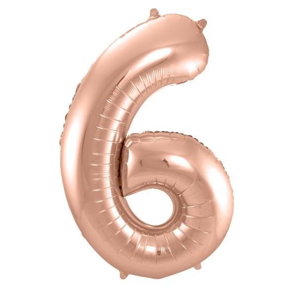 XL Folienballon Zahl 6 in rose-gold, 86 cm, 1 Stück, Helium Ballon (unbefüllt)