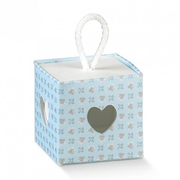 Gastgeschenk Geschenkbox in Hellblau-Weiß mit Innenbox und Kordel, 1 Stück