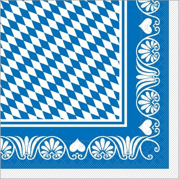 Serviette Bavaria in blau aus Tissue 40 x 40 cm, 100 Stück