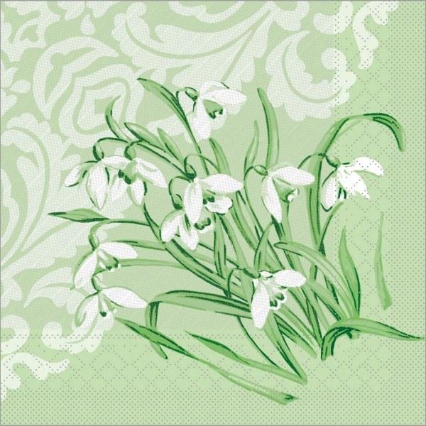 Serviette Melanie in grün aus Tissue Deluxe®, 4-lagig, 40 x 40 cm, 50 Stück