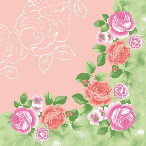 Serviette Rosemarie in rosa aus Tissue 40 x 40 cm, 100 Stück