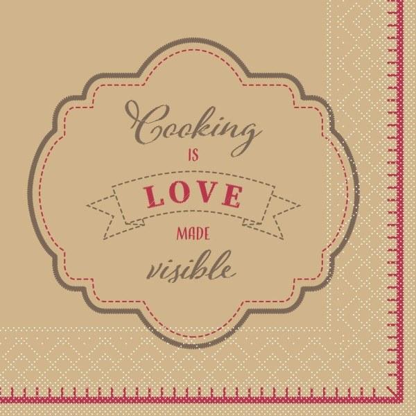Serviette Cooking is Love aus Tissue 33 x 33 cm, 20 Stück