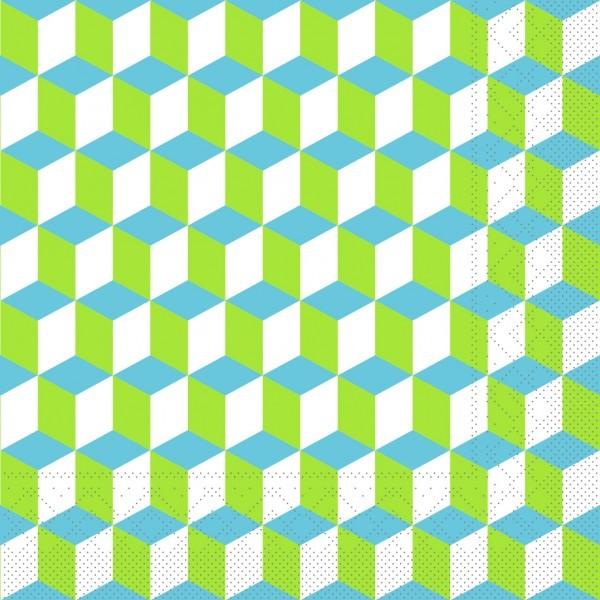 Serviette Chicago in Grün-Blau aus Tissue 33 x 33 cm, 20 Stück