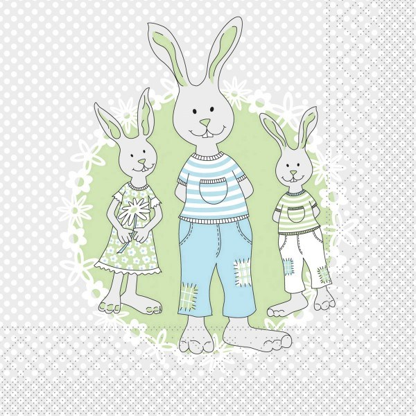 Serviette Familie Bommel in Grün-Grau aus Tissue 33 x 33 cm, 3-lagig, 100 Stück