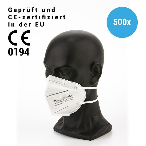 500 Stück Mundschutzmaske 3lagig FFP2, KN95, CE0194, mit Kopfband - Masken