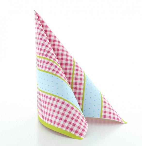 Serviette Vichy in rosa aus Linclass® Airlaid 40 x 40 cm, 50 Stück