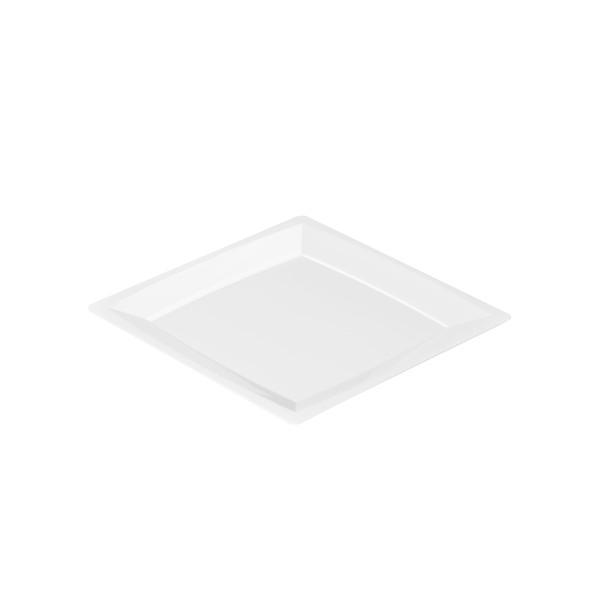 Einweg-Teller MILAN in S aus Plastik, 13,6 x 13,6 cm, Weiss, 24 Stück