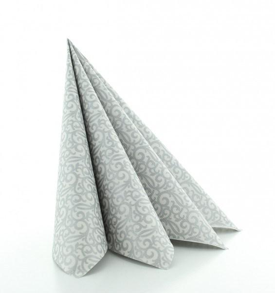 Serviette Rico in grau-silber aus Linclass® Airlaid 40 x 40 cm, 50 Stück