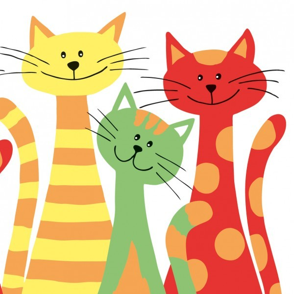 Serviette Cats aus Linclass® Airlaid 40 x 40 cm, 12 Stück