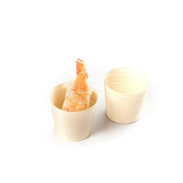 Mini Becher aus Holz, rund, Ø 45 x 45 mm, 100 Stück