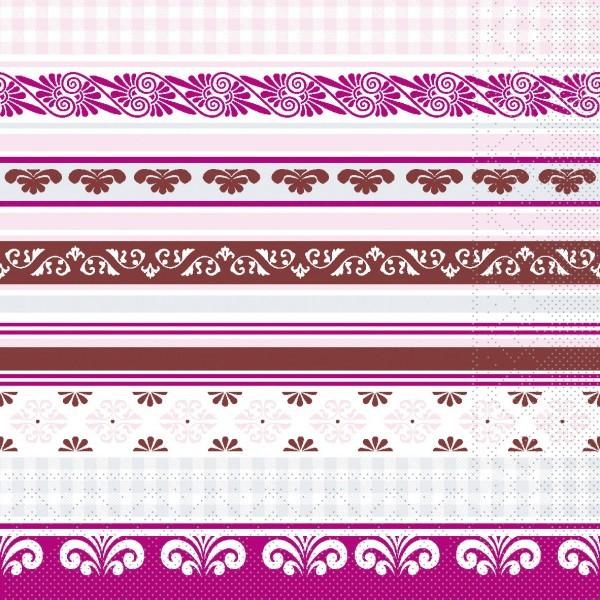 Serviette Jule in Braun-Rose aus Tissue 33 x 33 cm, 20 Stück