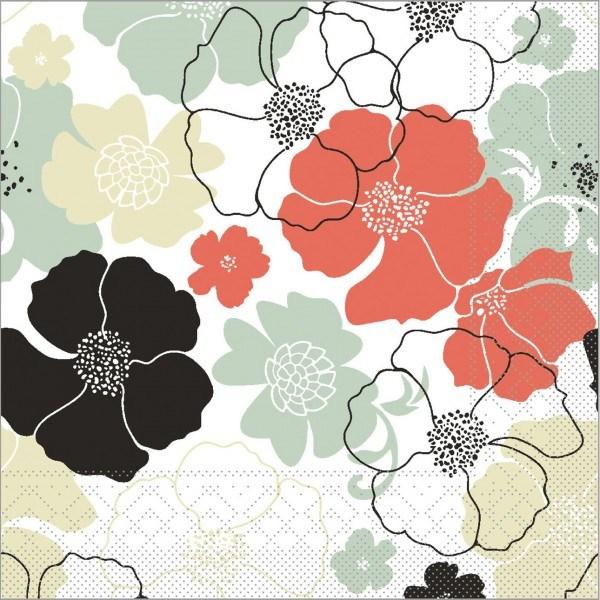 Serviette Nora in rot-grau aus Tissue 40 x 40 cm, 100 Stück