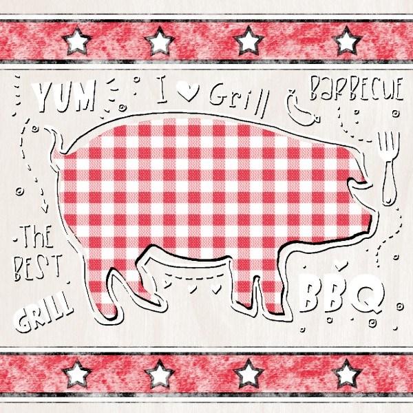 Serviette BBQ-Grillfest in Rot-Beige aus Linclass® Airlaid 40 x 40 cm, 12 Stück