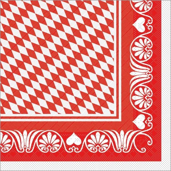 Serviette Bavaria in rot aus Tissue Deluxe®, 4-lagig, 40 x 40 cm, 50 Stück