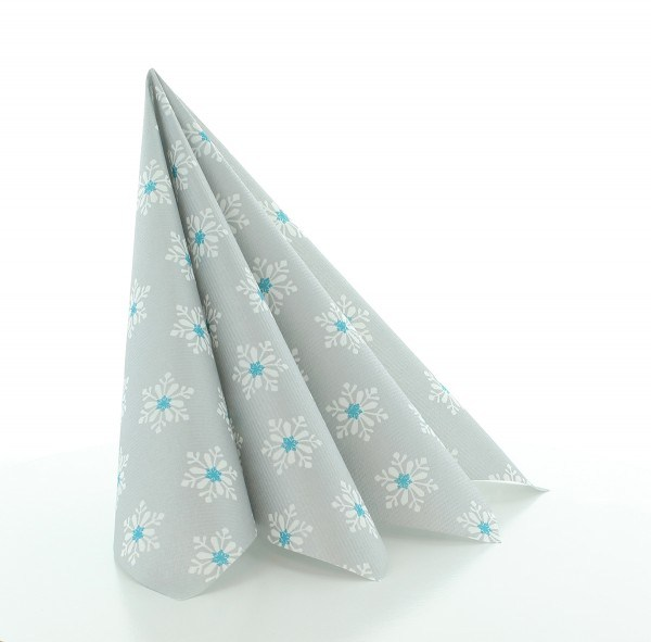 Serviette Snowflakes in Silber-Türkis aus Linclass® Airlaid 40 x 40 cm, 12 Stück