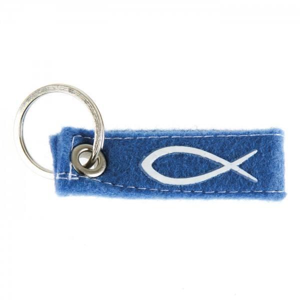 Schlüsselanhänger Fisch, blau, 1 Stück