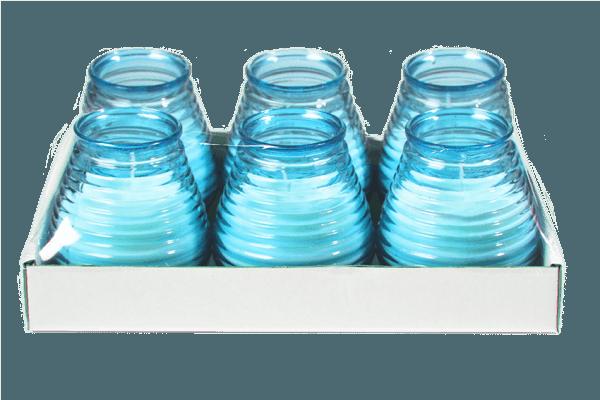 Glaswindlicht Flairlight in aquablau 6 Stück im Tray
