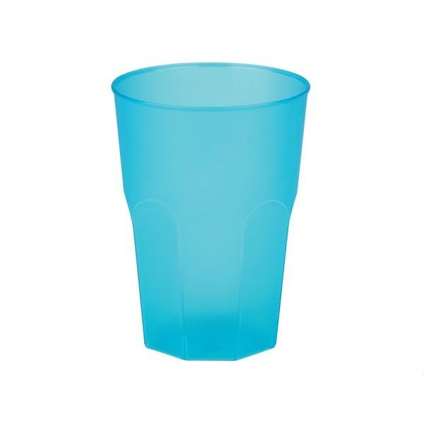 Mehrweg-Cocktailglas aus Plastik, Türkis-gefrostet, 420ml, 6 Stück