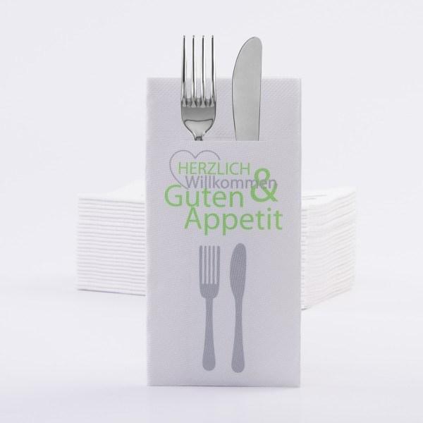 Besteckserviette Herzlich Willkommen in Grün aus Linclass® Airlaid 40 x 40 cm, 100 Stück
