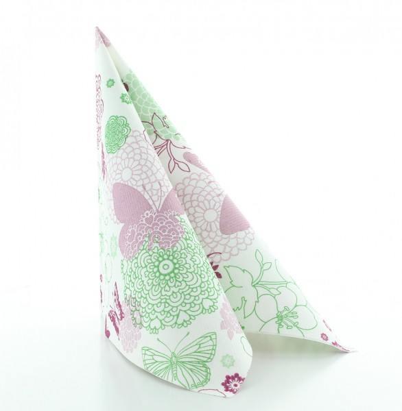 Serviette Luisa in pink-grün aus Linclass® Airlaid 40 x 40 cm, 50 Stück