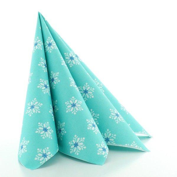 Serviette Snowflakes in Türkis-Blau aus Linclass® Airlaid 40 x 40 cm, 12 Stück