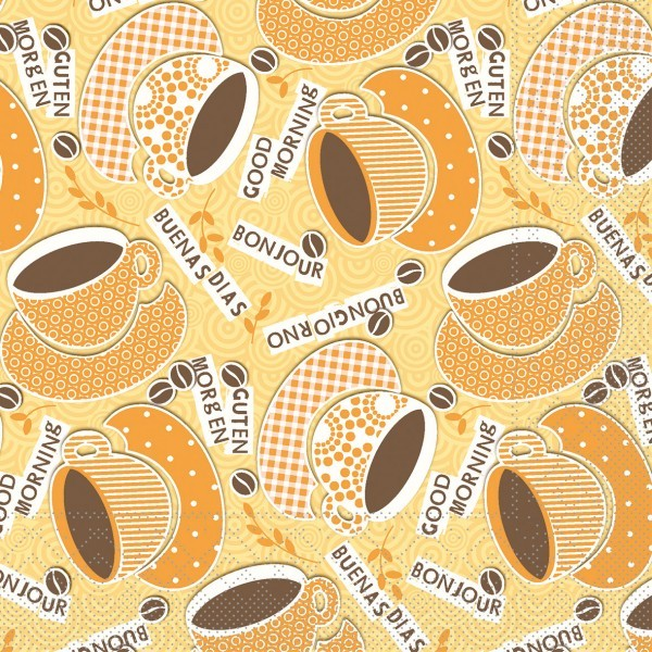Serviette Kaffee Ole in Gelb-Orange aus Tissue 33 x 33 cm, 20 Stück