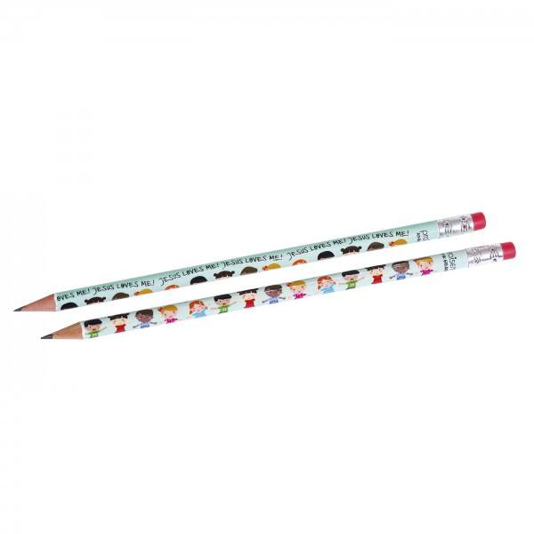 Bleistift mit Kindermotiv JESUS LOVES ME, 1 Stück