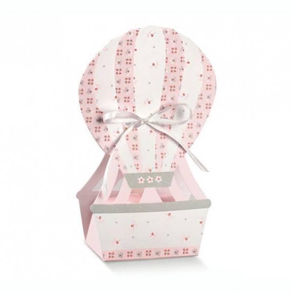 Gastgeschenk Geschenkbox Heißluftballon in Rosa, 1 Stück