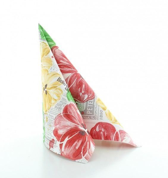 Serviette Hello Spring in gelb-rot aus Linclass® Airlaid 40 x 40 cm, 50 Stück