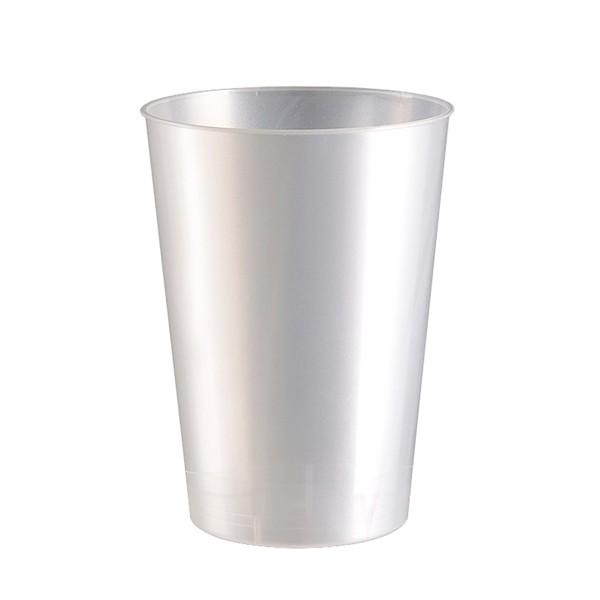 Einweg-Trinkbecher aus Plastik (PS), Perlmutt-Weiß, 230ml, 10 Stück