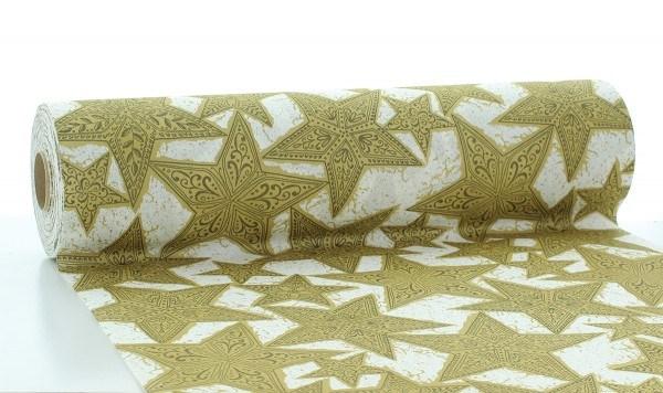 Tischläufer Gitte in Gold-Schwarz aus Linclass® Airlaid 40 cm x 24 m, 1 Stück